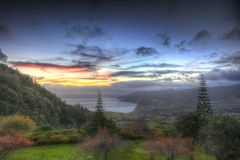 Soft HDR of sundown on the Azores, Portugal Stock Photos