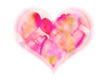 Soft Heart. Hearts within a heart on a white background Royalty Free Stock Photography