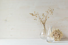 Soft home decor of  glass vase with spikelets and stalks on white wood background. Interior Royalty Free Stock Photography