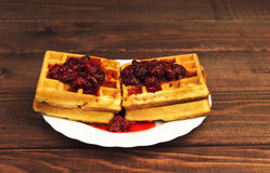 Soft homemade waffles Royalty Free Stock Images