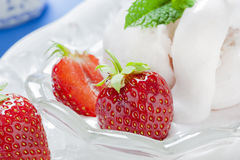 Soft Ice Cream with fresh Strawberries Royalty Free Stock Photography