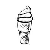 Soft ice cream in waffle cone sketch Royalty Free Stock Photo
