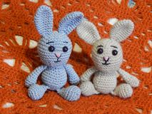 Soft knitted toys for small children and adults royalty free stock photography