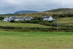 Soft Landscape in the Irish Countryside. Houses in a rural village in County Mayo near the Irish Atlantic Coast Royalty Free Stock Images