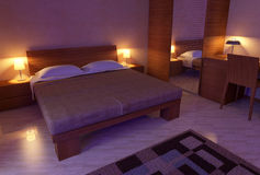 Soft light bedroom 3D Stock Photo