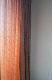 Soft light coming in apartment through thin brown curtains.  Royalty Free Stock Image