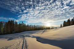 Soft light on snow while sunset Stock Photo