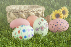 Soft light ,soft focus of easter eggs and daisies Stock Photography