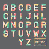 Soft Line Abstract Retro Vintage Hopster Alphabet A to Z Font Symbol Icon Vector Illustration Stock Photography
