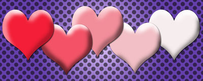 Soft lovely hearts banner Stock Image