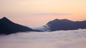 Soft mist. The mist is flowing between the mountains Stock Photography