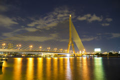 Soft night thailand Rama 8 Bridge Royalty Free Stock Image
