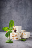 Soft nougat blocks with peanuts Royalty Free Stock Images
