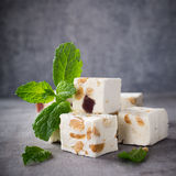 Soft nougat blocks with peanuts Stock Photo