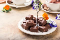 Soft nougat chocolate sweets Stock Images