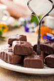 Soft nougat chocolate sweets Royalty Free Stock Photos