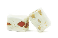 Soft nougat with peanuts and fruits Royalty Free Stock Image