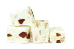 Soft nougat with peanuts and fruits Stock Photography