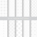 10 soft octagon patterns. Pattern Swatches, vector, Endless texture can be used for wallpaper, pattern fills, web page,background,surface Stock Illustration