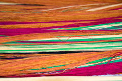 Soft orange pink green cotton thread for abstract background Royalty Free Stock Image