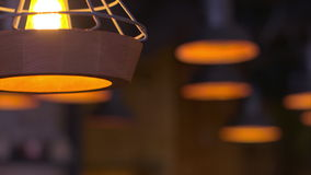 Soft panorama chandeliers in the restaurant. stock video footage