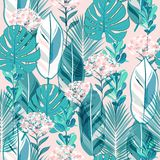 Soft pastel botanical jungle leaves pattern, tropical seamless, stock illustration