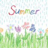 Soft pastel color flowers with green grass, rain and text. Crayon like kids hand drawn colorful funny spring summer background. vector illustration