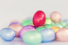 Mini chocolate easter eggs stock image