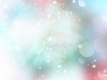 Soft pastel light green blue blurred background. Light pastel blurred defocused fresh spring background.Blue green bokeh illustration.Elegant sparkles on soft Stock Images