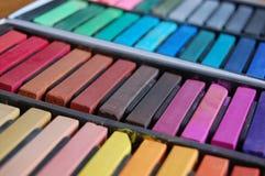 Soft Pastel Sticks. A box of high quality artists' soft pastel sticks. Art materials for drawing pictures Stock Photos