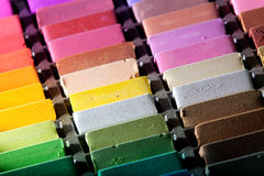 Soft pastels close up. Soft pastels in a box (close up Royalty Free Stock Photography