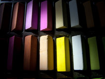 Soft pastels close up. Soft pastels in a box (close up Stock Photos