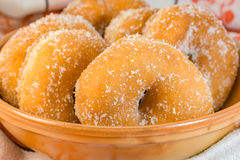 Soft pastries sprinkled with sugar into a bowl Royalty Free Stock Photo