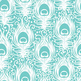 Soft peacock feathers vector seamless pattern