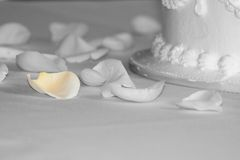 Soft petal. Rose petals on the wedding cake table Stock Image