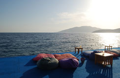 Soft pillows on the pier. Turkey Royalty Free Stock Image