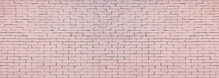 Soft pink brick wall texture background wide surface stock images