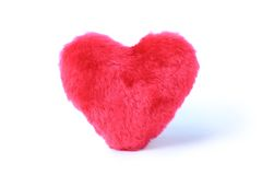 Soft pink heart pillow. On white background Stock Photo