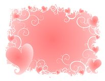 Soft Pink Hearts Swirls Background Stock Image