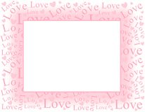Soft Pink Love and Hearts Frame Border. A background pattern featuring the word Love with hearts randomly positioned as a frame or border stock illustration