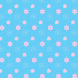 Soft pink mix flower styles pattern on soft blue background. Vector illustration image Royalty Free Stock Photos