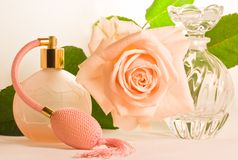 Soft pink rose and two small bottles Stock Photos