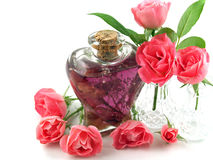 Soft Pink Roses Arranged with Massage Oil. In a Romantic Scene stock photo