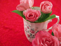 Soft Pink Roses Arranged in a Romantic Scene Royalty Free Stock Photography