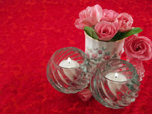 Soft Pink Roses Arranged in a Romantic Scene Stock Photo