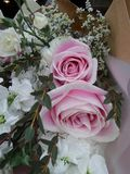 Soft pink roses and white flowers bouquet Stock Images