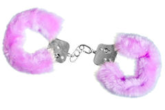 Soft pink sexy handcuffs on white background Royalty Free Stock Photos