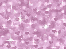 Soft pink and white abstract heart valentines day card background illustration with twinkling stars Royalty Free Stock Images