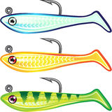 Soft plastic fishing lure bait fish imitation jig Vector illustr. Ation glow colors Royalty Free Stock Photography