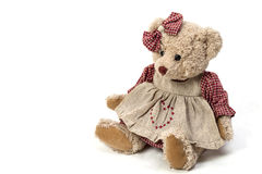 Soft plush toy bear in a dress Stock Photos